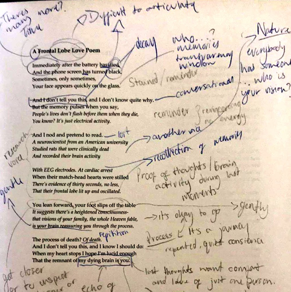 a teacher's annotations of A Frontal Lobe Love Poem